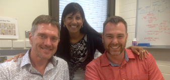 Associate Professor Mitch Byrne, School of Psychology, University of Wollongong and Professor Marc de Rosnay, Early Start, University of Wollongong, pictured here with Professor Cheryl Dissanayake