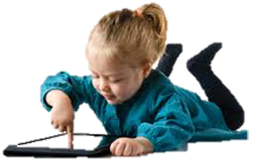 Child with tablet device