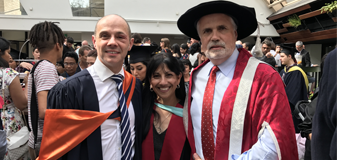 15 December 2016 - Professor Cheryl Dissanayake with the Deputy Chancellor Andrew Eddy (left), who presided over the Latrobe University Graduation ceremony, and Invited Occasional Speaker, Michael Fieldhouse (right), Hewlett-Packard Enterprises. Michael, now an Adjunct Professor at La Trobe University.
